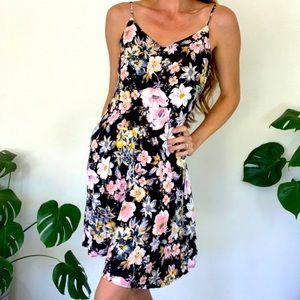 Gap M Black Floral Summer Sun Dress